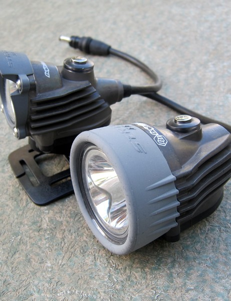 Light output on the Baja Designs Strykr SL (background) and Strykr II is identical at 925 claimed lumens but the SL is 76g lighter and significantly more compact