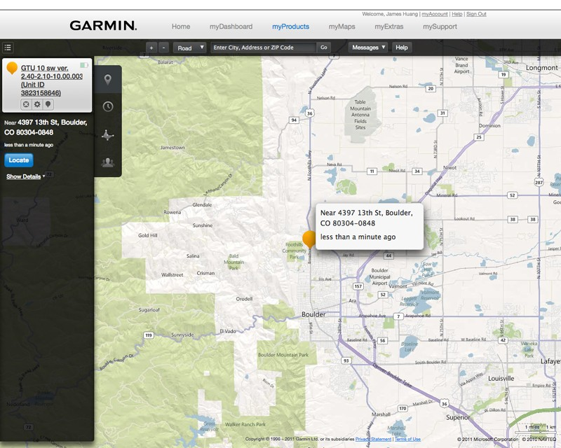 Once the Garmin GTU 10 locks on to orbiting satellites (which doesn't take very long in most situations), authorized users can track the device's location in near real-time via either the desktop or mobile applications