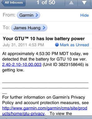 The Garmin GTU 10 will even alert authorized users when the battery power is low or if the unit has been turned off