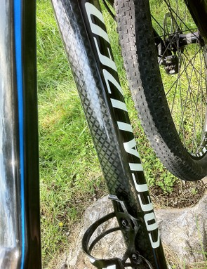 Faux carbon graphics are part of the finished look on the down tube