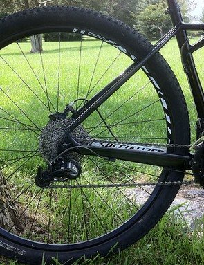 A view of the rear triangle and drivetrain