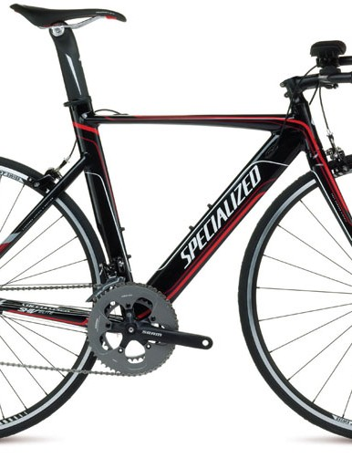 The Specialized Shiv Elite A1 Apex is the only UCI-legal frame in the range and is a hydroformed aluminium frame with SRAM Apex gearing