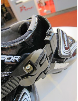 The tread blocks are replaceable on Bont's new Vaypor XC shoes.