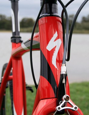 The Specialized Crux Elite has a 1-1/8 to 1-1/5in tapered head tube, with a slighter slacker head angle than most road racing frames