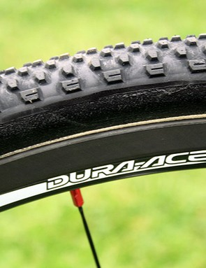 The lightweight carbon Shimano Dura-Ace C24 rims are integral to bringing the weight of Field's CruX Elite down
