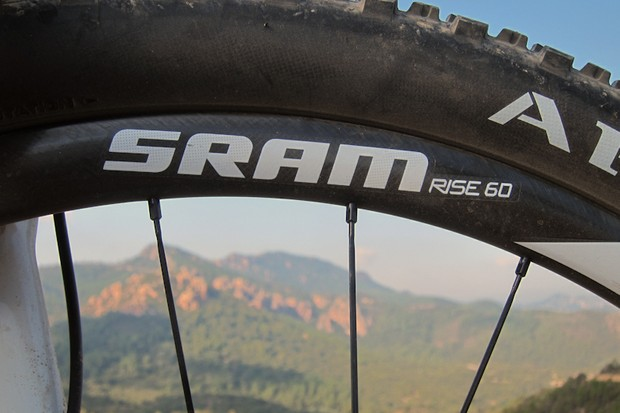 SRAM have launched their first mountain bike wheels; this is the carbon-rimmed RISE 60