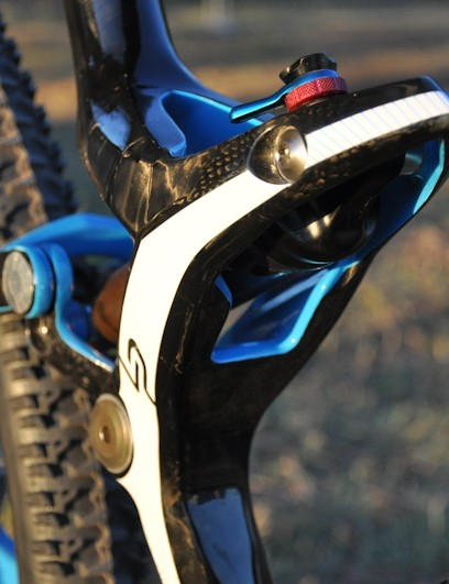 A Fox RP23 shock is housed in an all-carbon cradle anchored to the seat tube