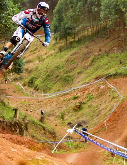 Gee Atherton practising at the first UCI World Cup of 2011 in Pietermaritzburg, South Africa