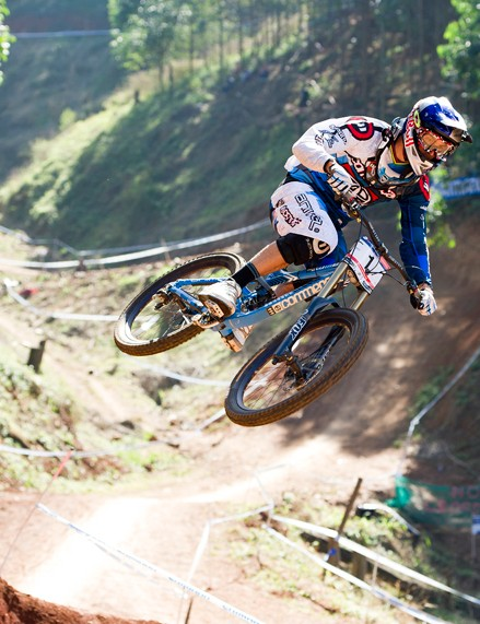 Gee Atherton riding at the World Cup in Pietermaritzburg, South Africa