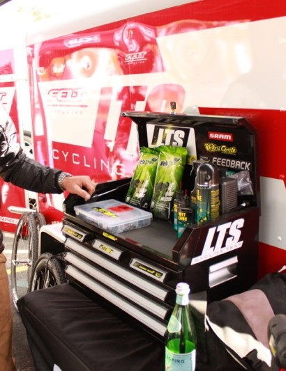 Dusty LaBarr with his 'show' tool box; it has the basics for use in a pinch, but its main job is to look pretty in the pits