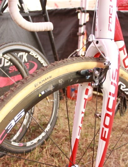 Eckmann's C35 tubulars are wrapped in Dugast rubber, though he also has Schwalbe's Racing Ralph tubulars on hand