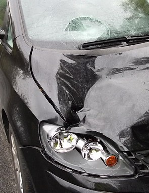 A cyclist was airlifted to hospital after colliding with this car on the Way of the Roses on Saturday