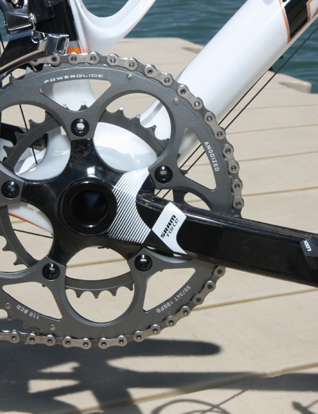 Parlee included a compact SRAM Force crank with our test bike but buyers will have their choice of gearing