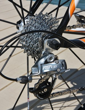 The SRAM Force rear derailleur was paired with a quiet-running PG-1070 cassette and PC-1090 chain