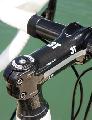 The 3T ARX-LTD carbon stem is a beefy piece of kit with its large-diameter extension and stout four-bolt stem faceplate