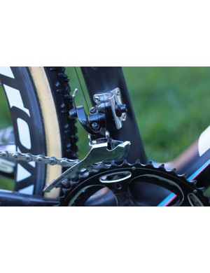 SRAM's Black Red 'professional' front derailleur with a steel cage