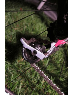 Powers runs Enduro bearings on his rear derailleur and bottom bracket