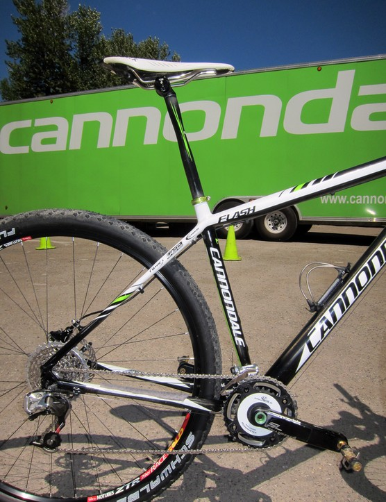 Strategically flattened sections on the chainstays, seatstays, seat tube and seatpost are said to provide an unusually soft ride on Cannondale's Flash 29er