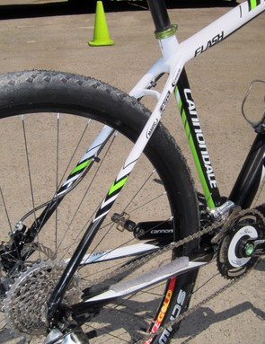 The stays are mostly straight on Jeremiah Bishop's Cannondale Flash 29er