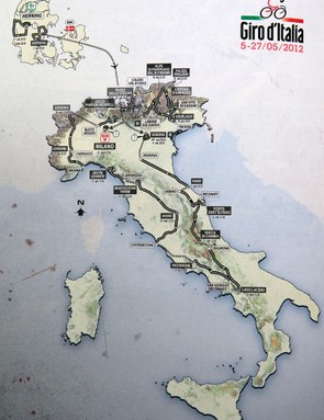 Map showing the route of the 2012 Giro D'Italia