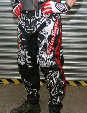 The skulls, snakes and dripping blood theme continues on the Medusa race pants