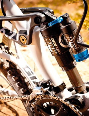 The DHX Air shock works great with the Maestro suspension setup to access the 170mm travel depths