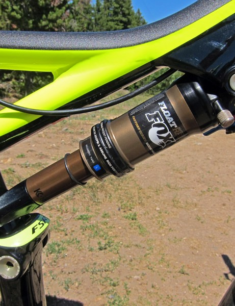 The Fox Racing Shox RP23 rear shock includes all of the bells and whistles, including the ultra-slick Kashima surface treatment to reduce friction, the more useful Adaptive Logic lever setup, and the Specialized-exclusive AUTOSAG feature which is simply awesome