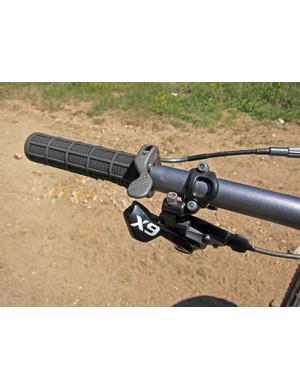 The remote for Specialized's Command Post Blacklite height-adjustable seatpost integrates neatly with the grip.  Unfortunately, it's still a little tough to operate with the high spring tension and the cable's sensitivity to friction