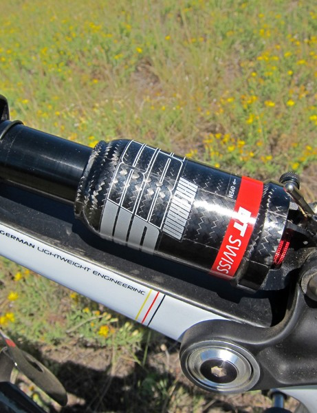The carbon fiber air can on the DT Swiss rear shock saves a few grams but it also gets very, very hot