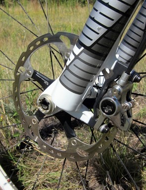 The 180mm rotor on the Shimano XTR front brake yields heaps of highly controllable up front