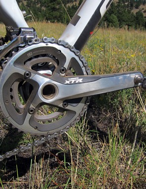 The Shimano XTR two-ring crankset shifts superbly even under power but not many riders in mountainous areas will be able to handle the 30/42T gearing