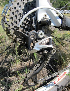 The Shimano XTR rear derailleur rattled off flawless shifts throughout testing with excellent lever feedback and feel, too