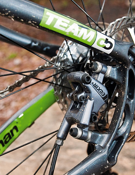 The rear disc calliper is neatly located between the chainstays and seatstays