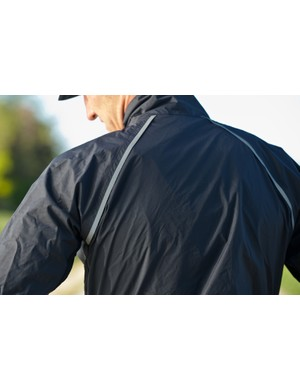 The jacket boasts a couple of strips of reflective material for better visibility in low light