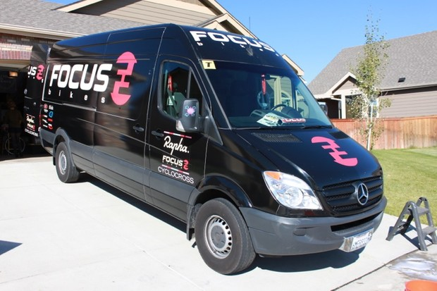The Rapha-Focus team's Mercedes Sprinter cargo van