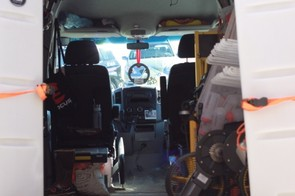 Inside the team's Sprinter