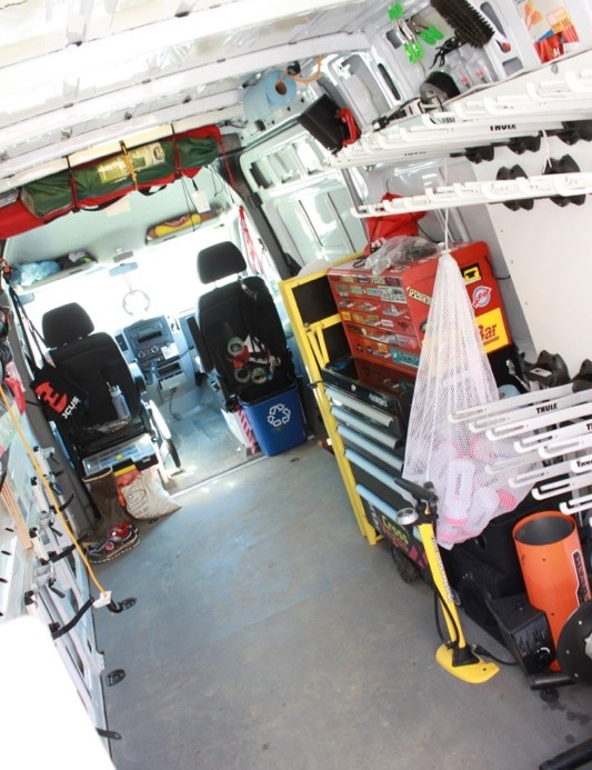 Wheel racks and tool boxes inside the Sprinter