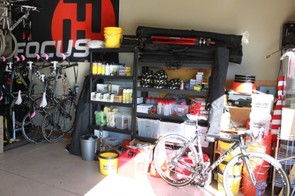 Plenty of Pedro's bike care products, extra team helmets, tires and whatever else a rider might need