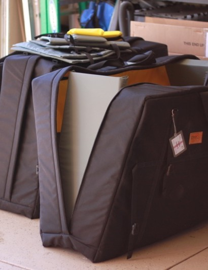 All the hardware Chris Jones and Zach McDonald used at the Tabor World Cup fitted into these three bags.