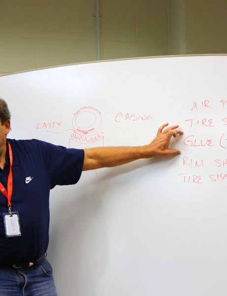 Howat explains the basic principles of tubular tire retention to students at the USA Cycling Race Mechanics Clinic in Colorado Springs, Colorado