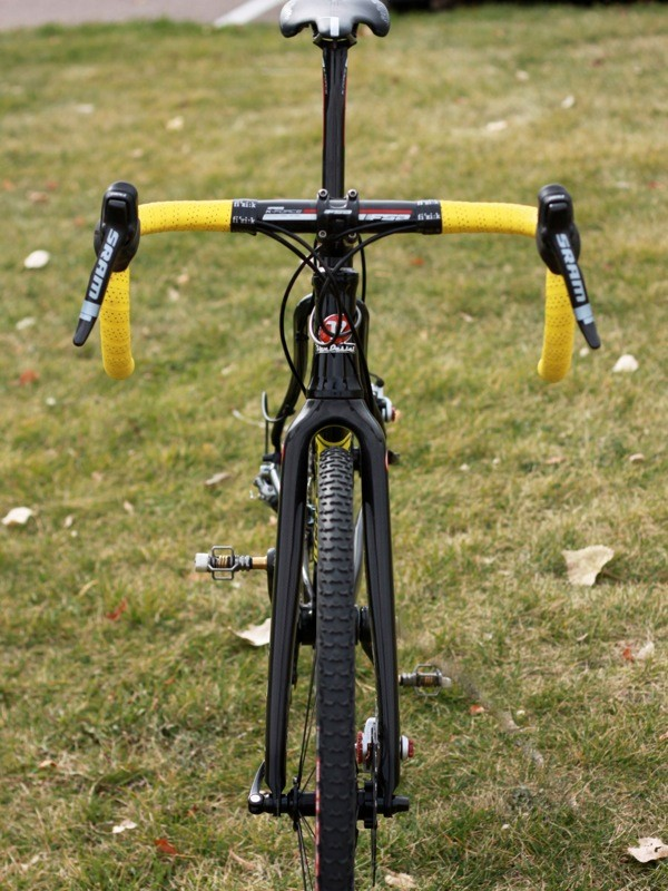 Disc brakes give a cleaner head-on look and help the bike stay cleaner — or at least keep the wheels turning — in the mud