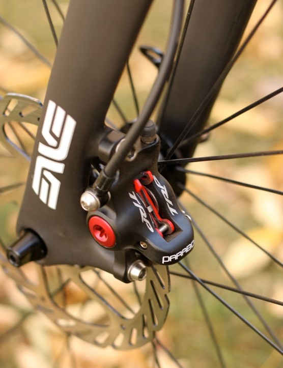 TRP uses a larger front caliper, which will likely be best complemented by a 140mm rotor for 'cross; 160 is better for road use, we expect, but the fork ultimately determines options