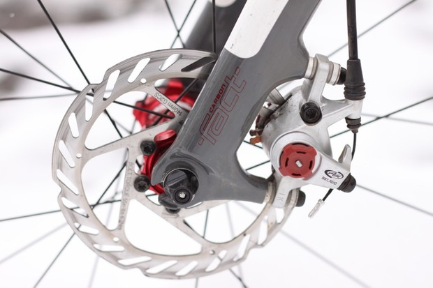 We've found the 140mm rotor to provide plenty of power for cyclo-cross