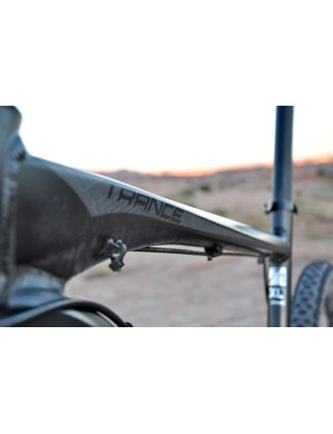 The Trance X1's hydroformed top tube shaping is impressive. Note the extra housing guide for a dropper post remote