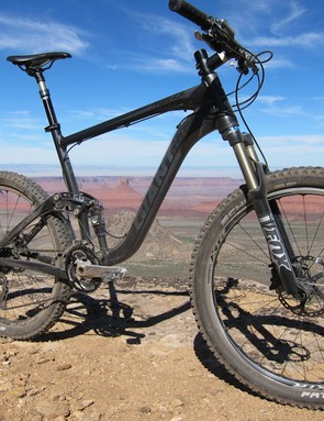 Larg-diameter tubeless tires and a dropper post allowed the Trance X1 to handle some of Moab's burlier trails quite well