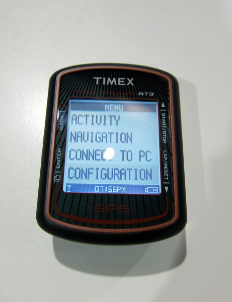 On-screen prompts on the backlit Timex RT3 screen make for easy navigation of the various functions