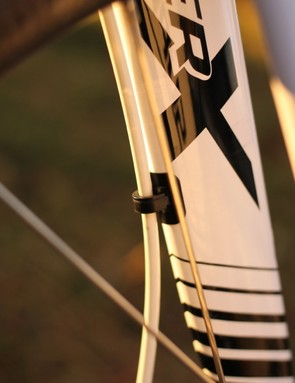 Cannondale have yet to permanently place cable guides on the fork; the prototype relies on adhesive style guides