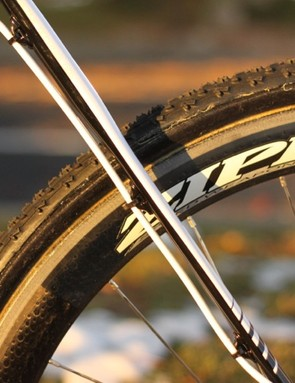 The seatstay of the prototype disc bike are considerably flatter than those of the standard production bike