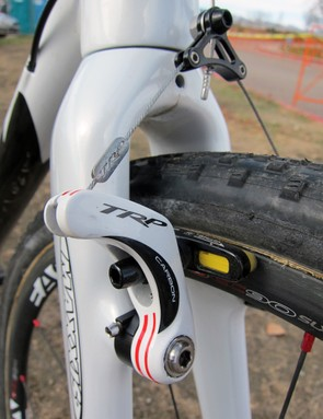 TRP have released a slightly wider-profile CR959 SL cantilever to better match the power of Avid's Shorty Ultimate but Geoff Kabush (Maxxis-Rocky Mountain) sticks with the original CR950 model here