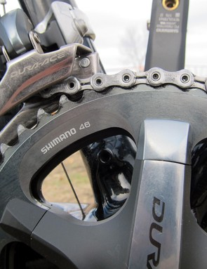 Shimano's 'cross-specific outer chainring doesn't boast the same ultra-stiff hollow construction as the standard road rings so profiled outer chainring bolts are used to maintain the sleek appearance